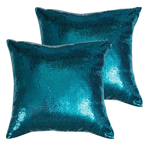 Poise3EHome 18x18inches Teal Throw Pillow Covers Sequin Decorative Pillow Cases for Couch, Bed, Living Room, Christmas (Teal, 2PCS)
