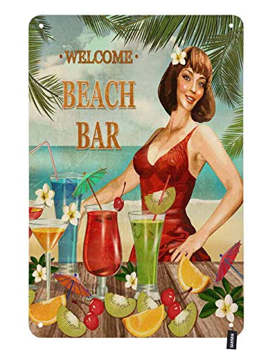 HOSNYE Beach Bar Pin Up Girl Tin Sign Sexy Women in Red and Drinks Around Design Vintage Metal Tin Signs for Men Women Wall Art Decor for Home Bars Clubs Cafes 8x12 Inch