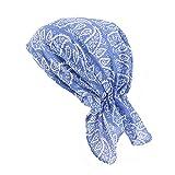 ZYCC Sombrero unisex de la bufanda de la cabeza Bandana algodón impreso Turbante Headwear para el cáncer, la quimioterapia, la pérdida del pelo (Azul)