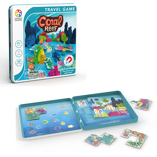 SmartGames Coral Reef Tin Box Magnetic Travel Game with 48 Challenges for Ages 4+