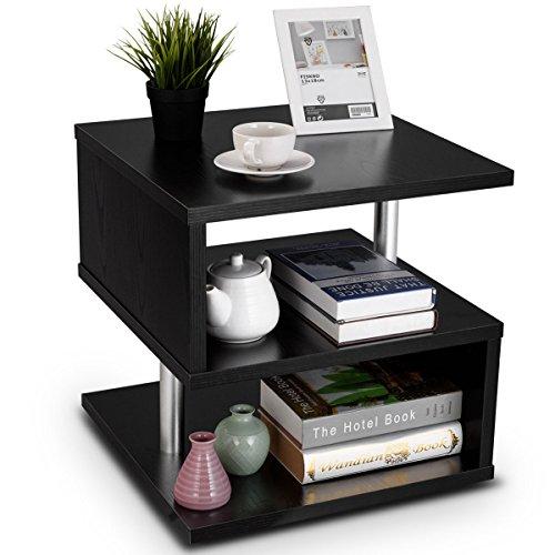 COSTWAY Beistelltisch schwarz, Sofatisch aus Holz und Metall, Kaffeetisch 3 Ebenen, Telefontisch quadratisch, Nachttisch 50x50x50cm