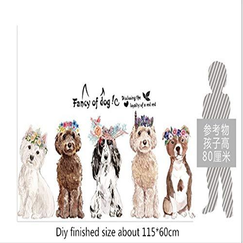 WTTTL Sticker Mural Sticker Mural Autocollant animalierCartoon Animal Guirlande Stickers Muraux Fantaisie De Doggie Enfants Chambre Salon De Mode Décor À La Maison DIY Vinyle Stickers