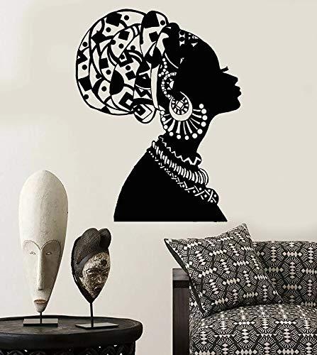 Etiqueta de la pared de vinilo negro africano en turbante nativo 3D creativo vinilo etiqueta de la pared mural arte decoracin
