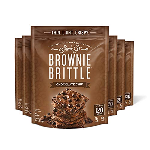 Sheila G's Brownie Brittle Chocolate Chip- Low Calorie, Healthy Chocolate, Sweets & Treats Dessert, Thin Sweet Crispy Snack-Rich Brownie Taste with a Cookie Crunch- 5oz, Pack of 6 from Brownie Brittle
