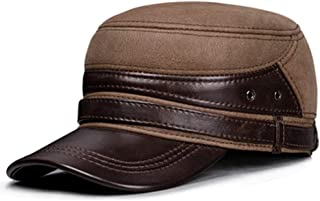 Men's Flat Caps, Adjustable Casual Warm Cowhide Leather Baseball Cap, Suit for Elderly Middle-Aged