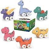 Fiouni Juguetes de dinosaurios para coche, 6 juguetes para niños y niñas 1 2 3 4 5 6 años, juguete de fricción con vehículos de juguete de Pterosaurios, Brachiosaurus, Spinosaurus, Tiranosaurus