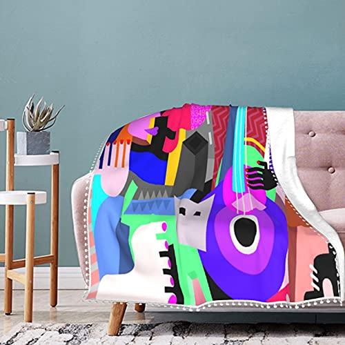 Manta con flecos de pompones, Picasso, la pareja de baile y la mujer que toca la guitarra, danza fina, cubismo abstracto, súper lujo, ligera, cálida, suave y acogedora, manta para cama, sofá,