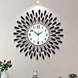 Fleble Metal 23.6 inch Black Drop Wall Clock 3D Non-Ticking Silent Quartz Clocks,White Glass Dial with Arabic Numerals,Diamond Round Home Decoration