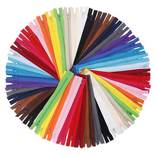 EuTengHao Lot de 100 fermetures éclair colorées en nylon de 20 cm avec pied presseur pour couture, artisanat, vêtements, sacs et travaux manuels (20 couleurs assorties)