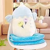 Boufery Almohada de biberón de Felpa, Suave Almohada Felpa Aire Acondicionado Manta Juguetes, para niños decoración del hogar (Azul) 48Cm