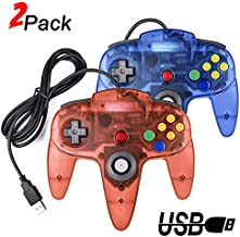2 Packs USB Retro Controllers for N64 Gaming, miadore PC Classic N64 Game Pad Joypad for Windows PC MAC Raspberry Pi (Clear Blue& Red)