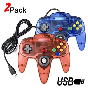 2 Packs USB Retro Controllers for N64 Gaming miadore PC Classic N64 Game Pad Joypad for Windows PC MAC Raspberry Pi  Clear Blue& Red