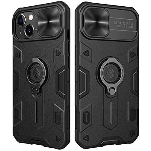 Nillkin CamShield Armor Kompatibel mit iPhone 13 Hülle, mit Kameraschutz & 360° Drehbarer Ständer, Militärqualität Handyhülle für iPhone 13 Hülle Schwarz