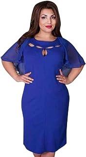 f567c2d8229 Fiaya Women Plus Size Casual Solid Chiffon Loose O-Neck Short Sleeve Dress  (XX
