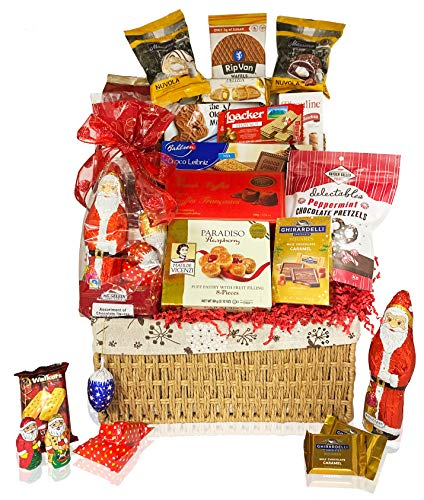 Christmas Gift Baskets Chocolate, Santa, Cookies, Candy, Waffles - Perfect Care Package Gifts or College Students, Couples, Military, Women, Men, Family, Friends, Boys, Girls