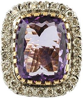 Anello Vintage, Ametista Centrale e Diamanti