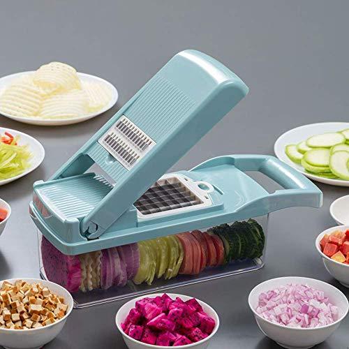 GAOFQ Vegetable Chopper, Multifunction Vegetable Mandoline Slicer Dicer with 7 Blades, Best for Potato, Onion Etc,Blue