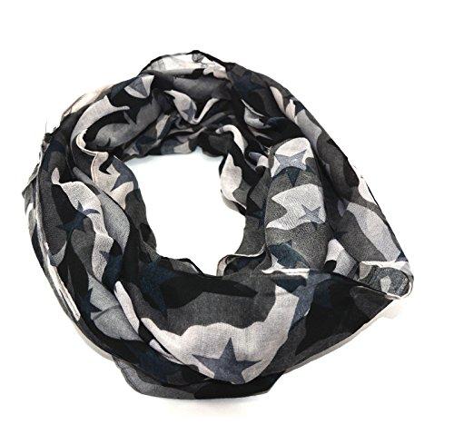 Cox Stylischer Damen Camouflage Tarn Sterne Schal Tuch grau