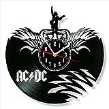 ACDC - Reloj de pared de vinilo estilo retro reloj de pared silencioso decoración del hogar único arte especial accesorios creativos personalidad regalo