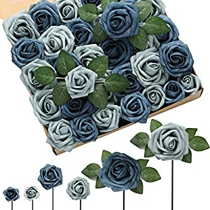 DerBlue 60pcs Three Different Sizes Artificial Roses Flowers Foam Roses Bulk w/Stem for DIY Wedding Bouquets Corsages Centerpieces Arrangements Baby Shower Cake Flower Decorations (Dusty Blue Shades)