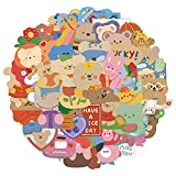50pcs Korean Bear Stickers for Laptop , Cute Cartoon Stickers Waterproof Vinyl Stickers for Water Bottle Scrapbooking Moctorcycle Skateboard Computer Durable Decals