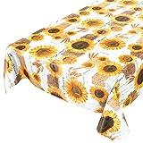 ANRO Tischdecke Wachstischdecke Wachstuch Wachstuchtischdecke Sonnenblumen Sommer Weizen Gelb 180 x 140cm