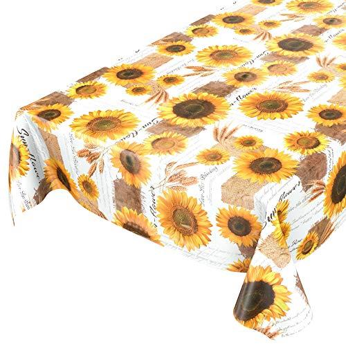 ANRO Tischdecke Wachstischdecke Wachstuch Wachstuchtischdecke Sonnenblumen Sommer Weizen Gelb 160 x 140cm