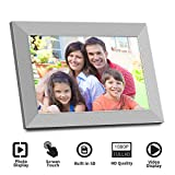 Digital Picture Frame Fansbe 10Inch Touch WiFi Digital Photo Frame Send Photos or Small Videos from Anywhere,SD Card,16GB Storage-White & Sliver