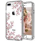 ICEDIO iPhone 8 Plus Hülle, iPhone 7 Plus Hülle mit Displayschutzfolie, transparente Abdeckung mit Blumenmuster für Mädchen und Frauen, stoßfeste Schutzhülle für iPhone 8 Plus/7 Plus