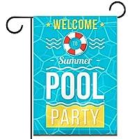 ガーデンヤードフラッグ両面 /12x18in/ ポリエステルウェルカムハウス旗バナー,夏のプール パーティーへようこそ