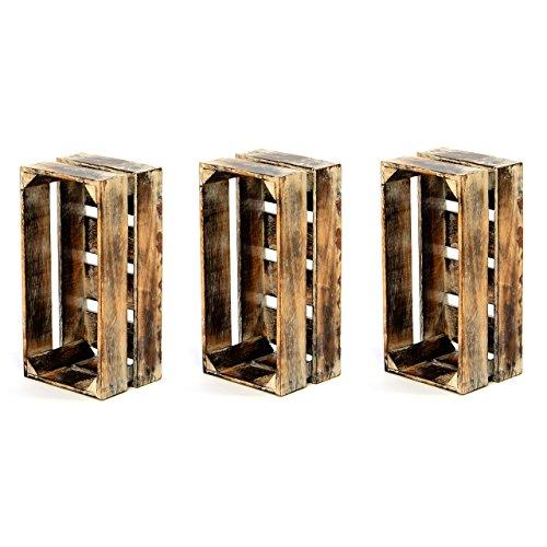 """divero 3er-Set Vintage Holzkiste braun geflammt Staubox Weinkiste Obstkiste Größe """"XS"""" 36 x 17cm Höhe 15cm Stapelbox Spielzeugkiste Regal-Box"""
