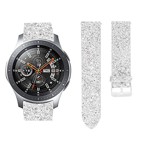 HGNZMD Pulsera De Cuero Compatible con Galaxy Watch 3, Bandas De Repuesto Pulseras Transpirables Correa De Reloj con Purpurina Band Joyería Compatible con Galaxy Watch 3 Fitness Tracker,G,45mm