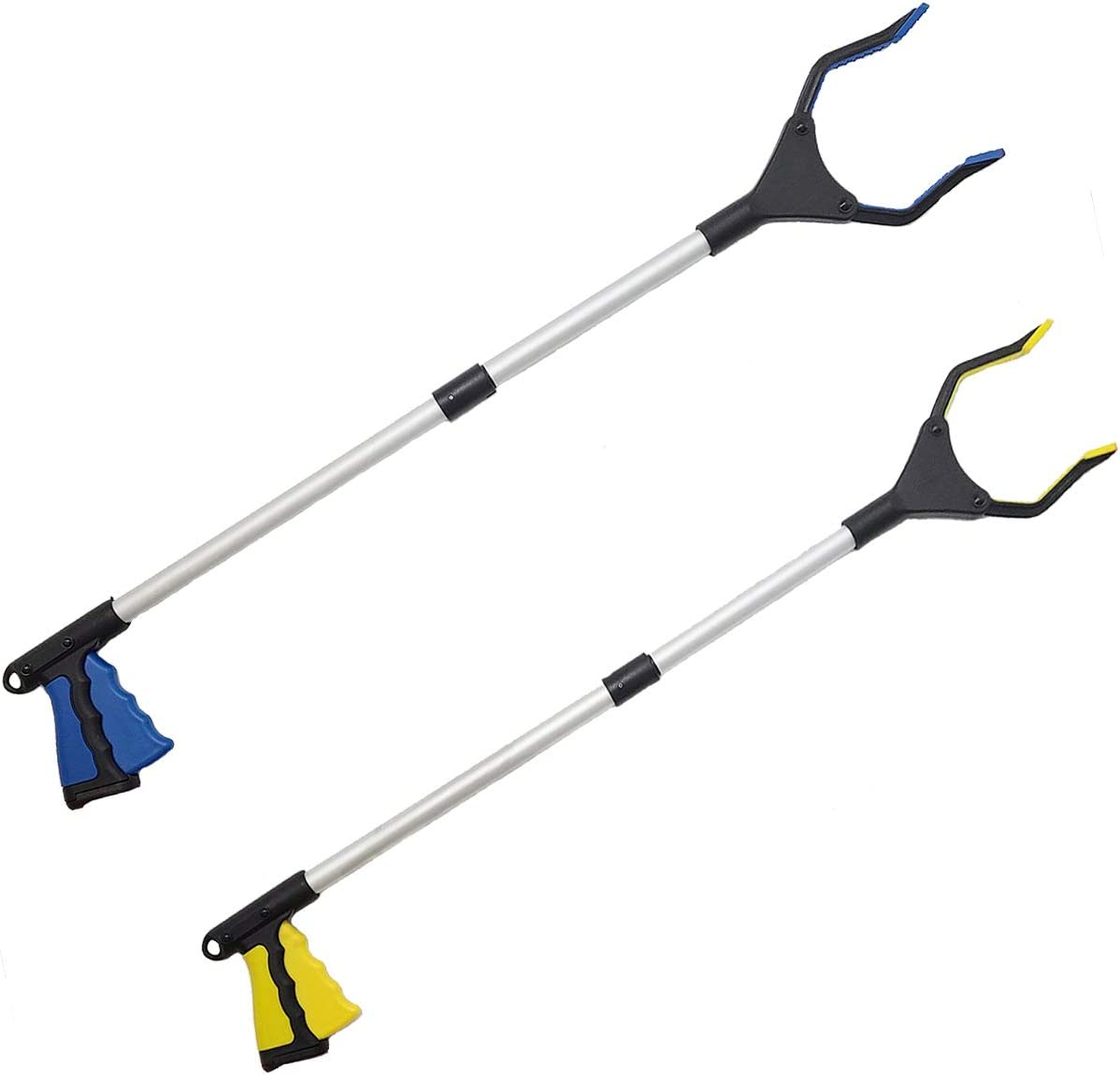 Dzxouui 2-Pack Foldable Grabber Reacher Tool, Pick Up Stick for Store Shelves, Lightweight Extra Long Handy Trash Claw Grabber, 32'' Trash Picker Grabber Tool for Elderly (Blue&Yellow): Health & Personal Care