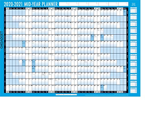New Style 2020-2021 Mid Year Planner A1 Large Laminated Academic Wall-Planner 85CM X 58CM with Dry Wipe Marker Pen & Sticker Dots