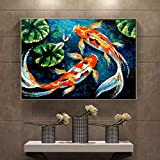 Póster de carpa koi de pescado, pintura al óleo de animales sobre lienzo, imágenes artísticas de pared de la suerte para la sala de estar, sofá, decoración moderna del hogar / 60x80cm (sin marco)
