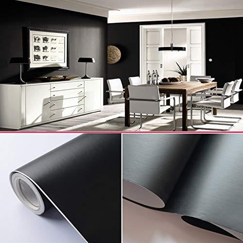 TINGCHAO Papel Pintado Autoadhesivo extraíble de Color sólido para Cocina, Armario, encimera, Armario, Zapatero, cajón, Muebles (23,6 x 394 Pulgadas),Negro