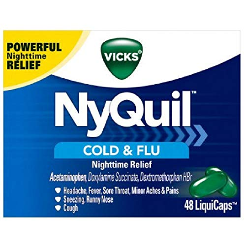 Vicks NyQuil Cold & Flu Nighttime Relief LiquiCaps 24 ea (Pack of 5)