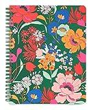 Ban.do Mini cuaderno en espiral con diseño floral verde con bolsillos y 160 páginas a rayas, 22,8 x 17,78 cm