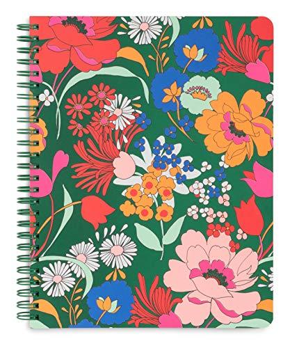 Ban.do - Mini quaderno a spirale, motivo floreale, 22,9 x 17,8 cm, con tasche e 160 pagine a righe, colore: Verde