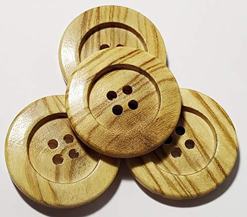 25 Botones de Madera de Olivo de 25 mm - Fabricado y Enviado desde ESPAÑA