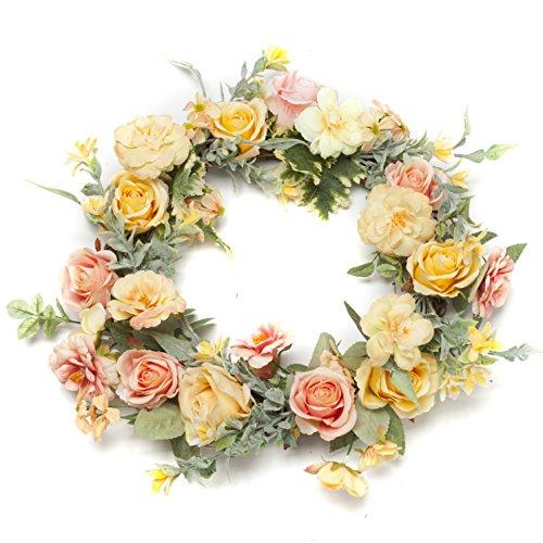 LTWHOME Artikelnummer WHCYP Dmr 38cm Künstlicher Frühling Sommer Kranz mit Kamelien, Rosen, Orchideen für Haustür, Wand, Kaminsims, Fenster Dekoration