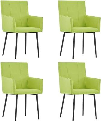 vidaXL 4X Sillas de Comedor con Reposabrazos Tela Hogar Jardín Salón Comedor Bricolaje Decoración Diseño Estilo Mobiliario Muebles Asiento Banco Verde: Amazon.es: Hogar