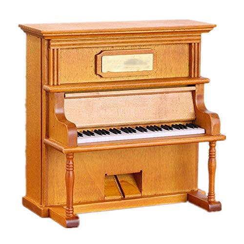 BJLWTQ Día Madera Piano Vertical Caja de música Regalo de cumpleaños de San Valentín Artes de la Navidad (Color: Color de Imagen, tamaño: 12.8X7X13CM)