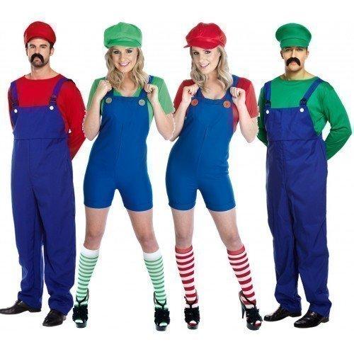 Fancy Me Paar Erwachsene Herren & Damen Mario und Luigi 80s Jahre Klempner Videospiel TV Film Kostüm Party Outfits Übergröße - Rot, Ladies UK 20-22