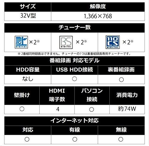 『シャープ 32V型 液晶 テレビ AQUOS LC-32W5 ハイビジョン 外付HDD対応(裏番組録画) アナログRGB端子付』の9枚目の画像