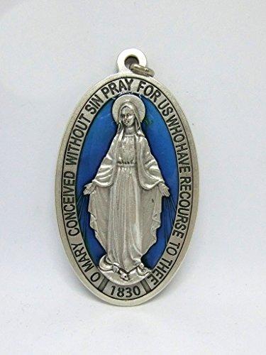 60.836.31miracolosa Medalla Virgen Maria miracolosa + Logo orando Inglés plateado tamaño 9cm esmaltado a mano
