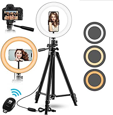 "10"" Ring Light, Upgraded Selfie Ring Light with 53'' ExtendableTripod Stand &Phone Holder, Perfect for Live Stream/Makeup/YouTube Video/TikTok Compatible with Phones and Cameras by GASLIKE"