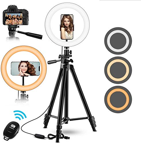 """10"""" Selfie Ring Light with Adjustable Tripod Stand & Phone Holder - Upgrade Dimmable LED Beauty Camera Ringlight for Photography/Makeup/Vlogging/Live Streaming, Compatible with Phones and"""