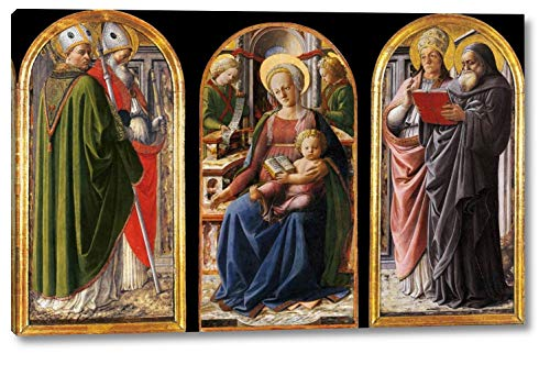 """Triptych by Fra Filippo Lippi - 10"""" x 16"""" Gallery Wrap Canvas Art Print - Ready to Hang"""