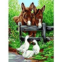 数字で描く動物をキャンバスに描く数字で描く家の装飾DIYミニマリズムスタイル(フレームレス)40x50cm
